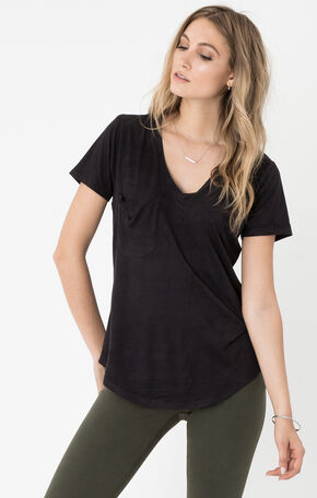 Z Supply Women's Suede Pocket Tee, Black, hi-res