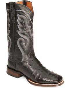 Dan Post Full Quill Ostrich Cowboy Certified Cowboy Boots - Wide Square Toe, Black, hi-res