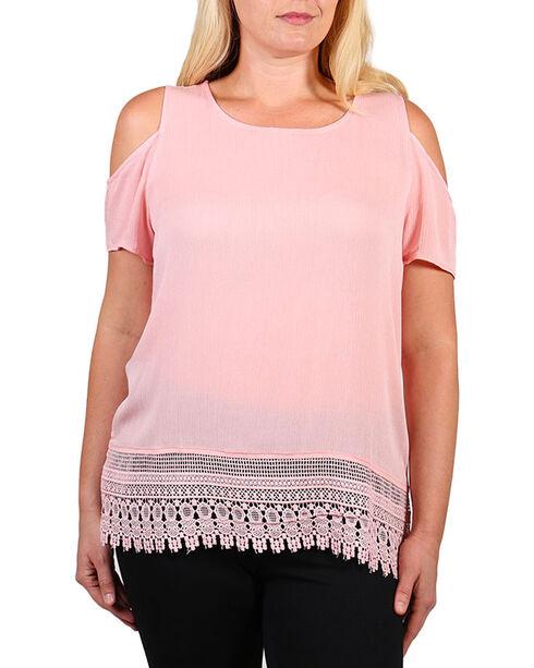 Forgotten Grace Women's Cold Shoulder Top - Plus, Light Pink, hi-res