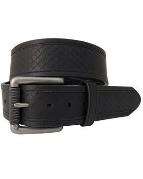 G-Bar-D Men's Black Diamond Embossed Leather Belt , Black, hi-res