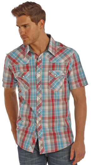 Rock & Roll Cowboy Men's Red Ripstop Plaid Shirt , Red, hi-res