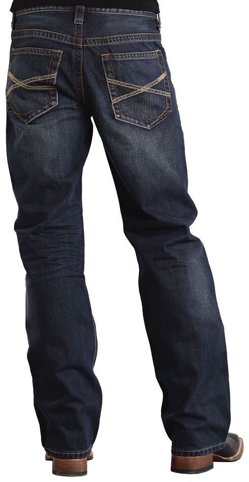 "Stetson Modern Fit Classic ""X"" Stitched Jeans, Dark Stone, hi-res"