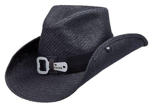 Peter Grimm Kelsey Bottle Opener Straw Cowboy Hat, Black, hi-res