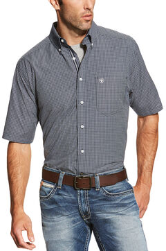 Ariat Men's Navy Midfield Short Sleeve Shirt , , hi-res