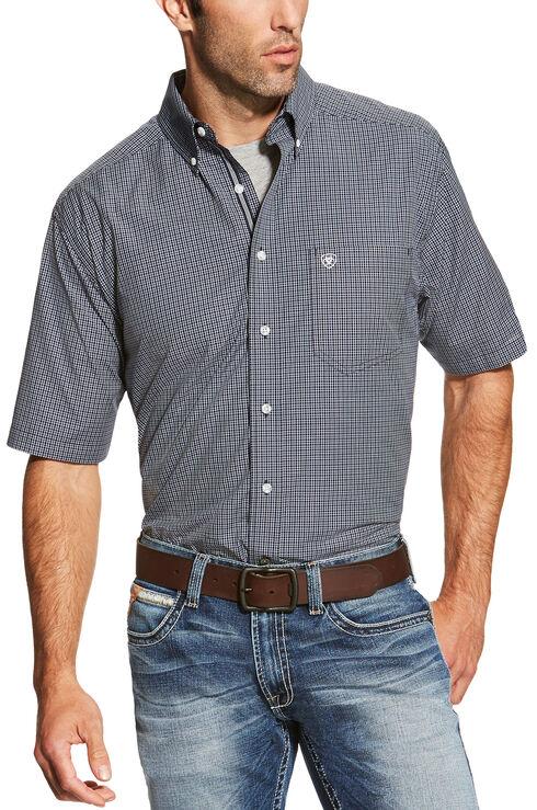 Ariat Men's Navy Midfield Short Sleeve Shirt , Navy, hi-res