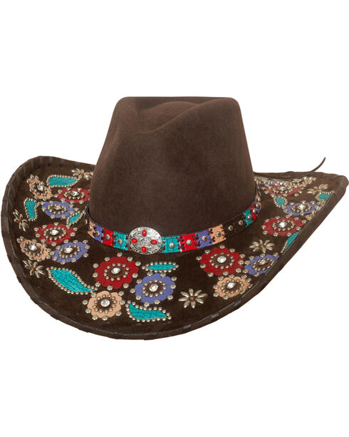 Bullhide Women's Country Love Song Wool Hat , Chocolate, hi-res