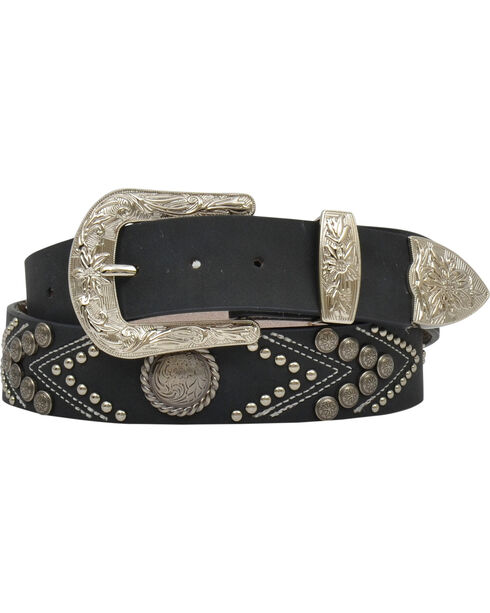 "Angel Ranch Women's 1.5"" Studs & Conchos Fashion Belt, , hi-res"