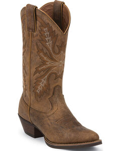 Justin Tan Puma Silver Cowgirl Boots - Round Toe , Tan, hi-res