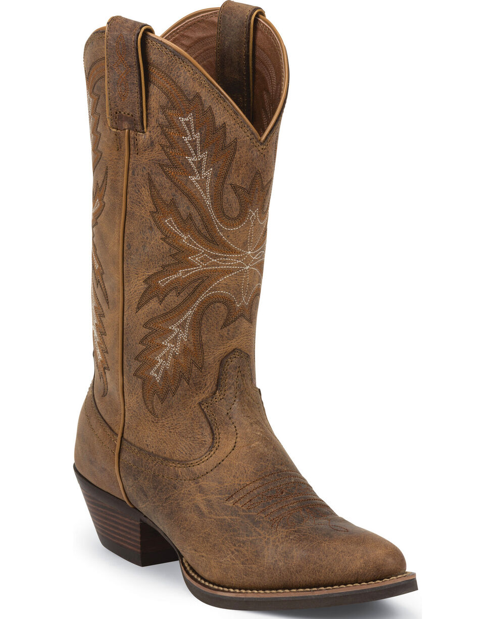 Justin Women's Quinlan Tan Cowgirl Boots - Round Toe, Tan, hi-res