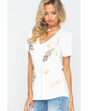 Miss Me Women's Sequin Feather Print Open Back Tee, Ivory, hi-res