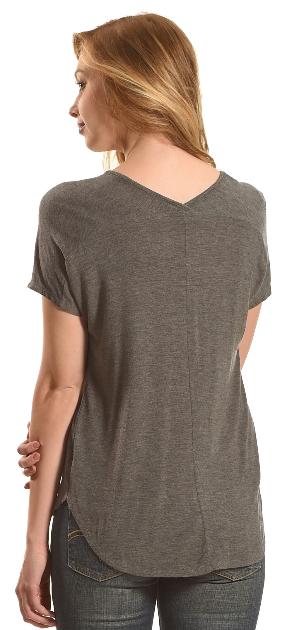 Derek Heart Women's Extended Cap Sleeve Hi Low Shirt - Grey, , hi-res