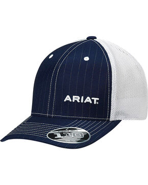 Ariat Men's Navy Pinstripe Pattern Baseball Cap , Navy, hi-res