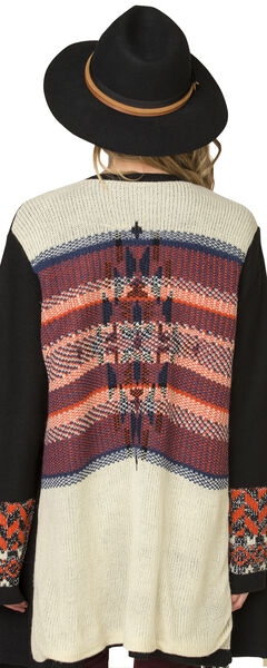 Miss Me Women's Aztec Oversized Cardigan, Black, hi-res