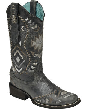 Corral Women's Whipstitched Cowgirl Boots - Square Toe, Black, hi-res