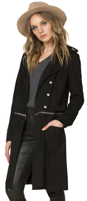 Miss Me Women's Black Work 'n Slay Trench Coat , Black, hi-res