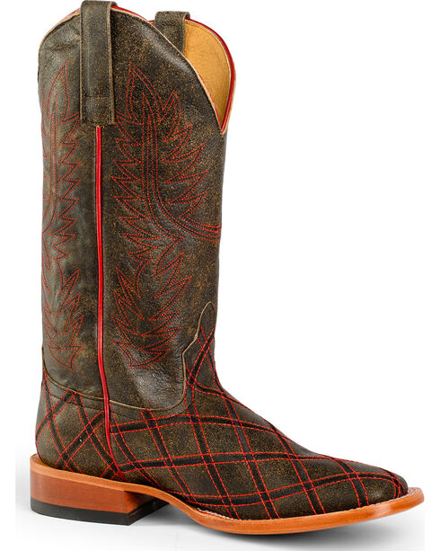 Horse Power Men's Chocolate Red Leather Cowboy Boots - Square Toe , Chocolate, hi-res