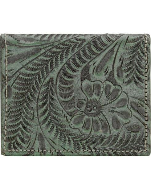 American West Boyfriend Ladies Turquoise Bi-Fold Wallet, Turquoise, hi-res