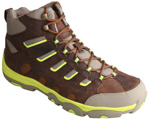 Twisted X Men's Hiker Brown and Neon Lace-Up Boots, Distressed, hi-res