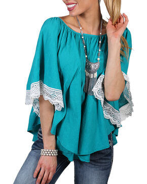 Shyanne Women's Batwing Poncho, Turquoise, hi-res