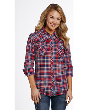 Cowgirl Up Women's Vintage Wash Plaid Shirt , Red/white/blue, hi-res