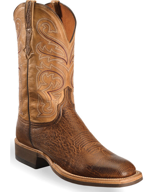 Lucchese Men's Light Brown Lance Smooth Ostrich Boots - Square Toe , Lt Brown, hi-res