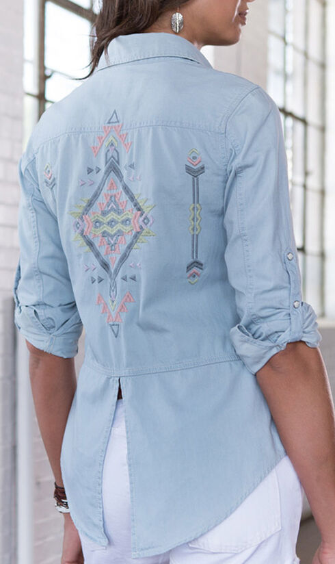 Ryan Michael Women's Embroidered Indigo Shirt, Indigo, hi-res