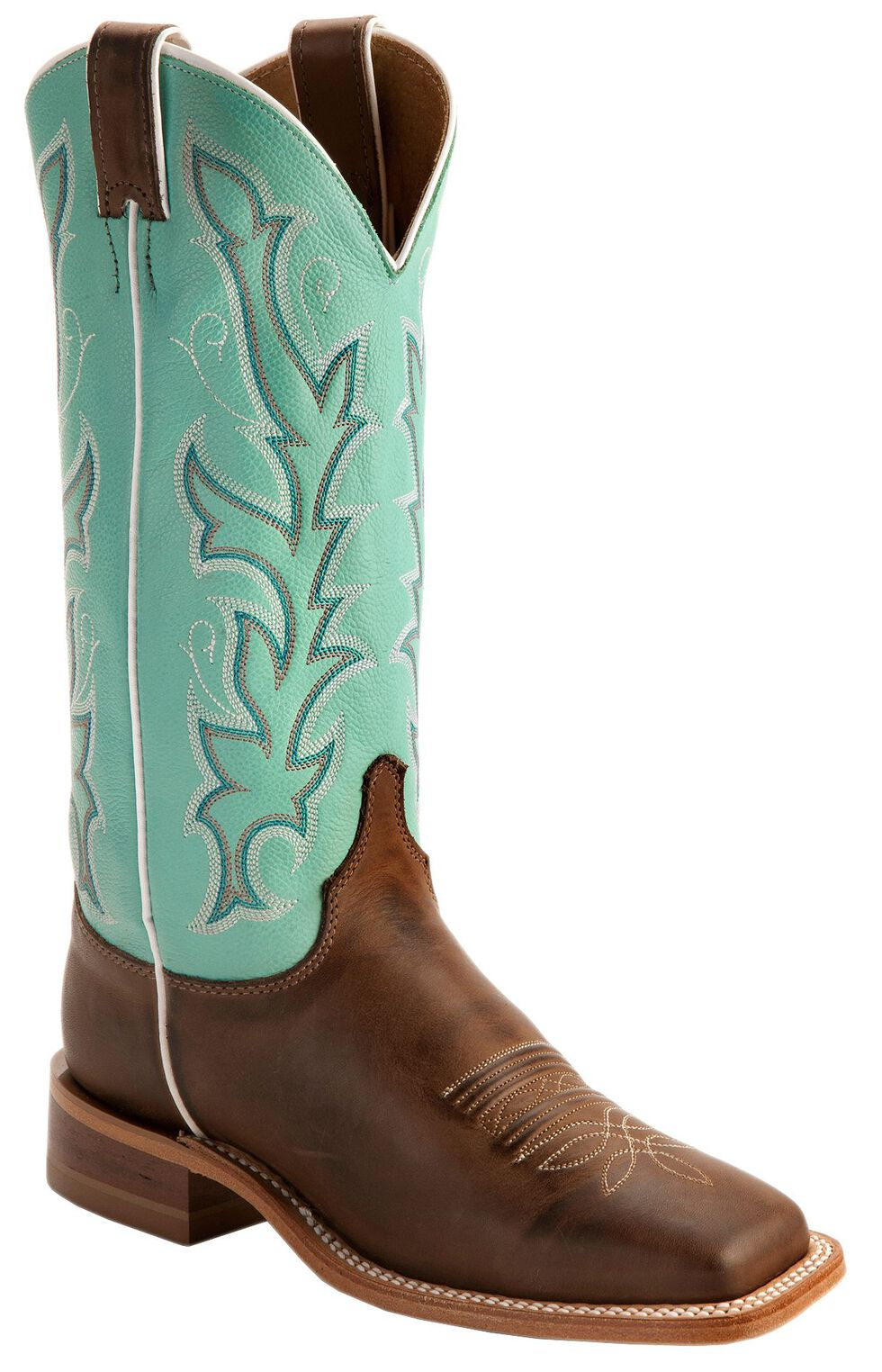 """Justin Bent Rail Women's 13"""" Albany Seagreen Cowgirl Boots - Square Toe, Chocolate, hi-res"""