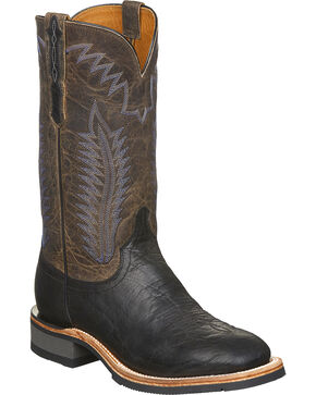Lucchese Men's Wyatt Black Bull Shoulder Rubber Outsole Western Boots - Square Toe, Black, hi-res