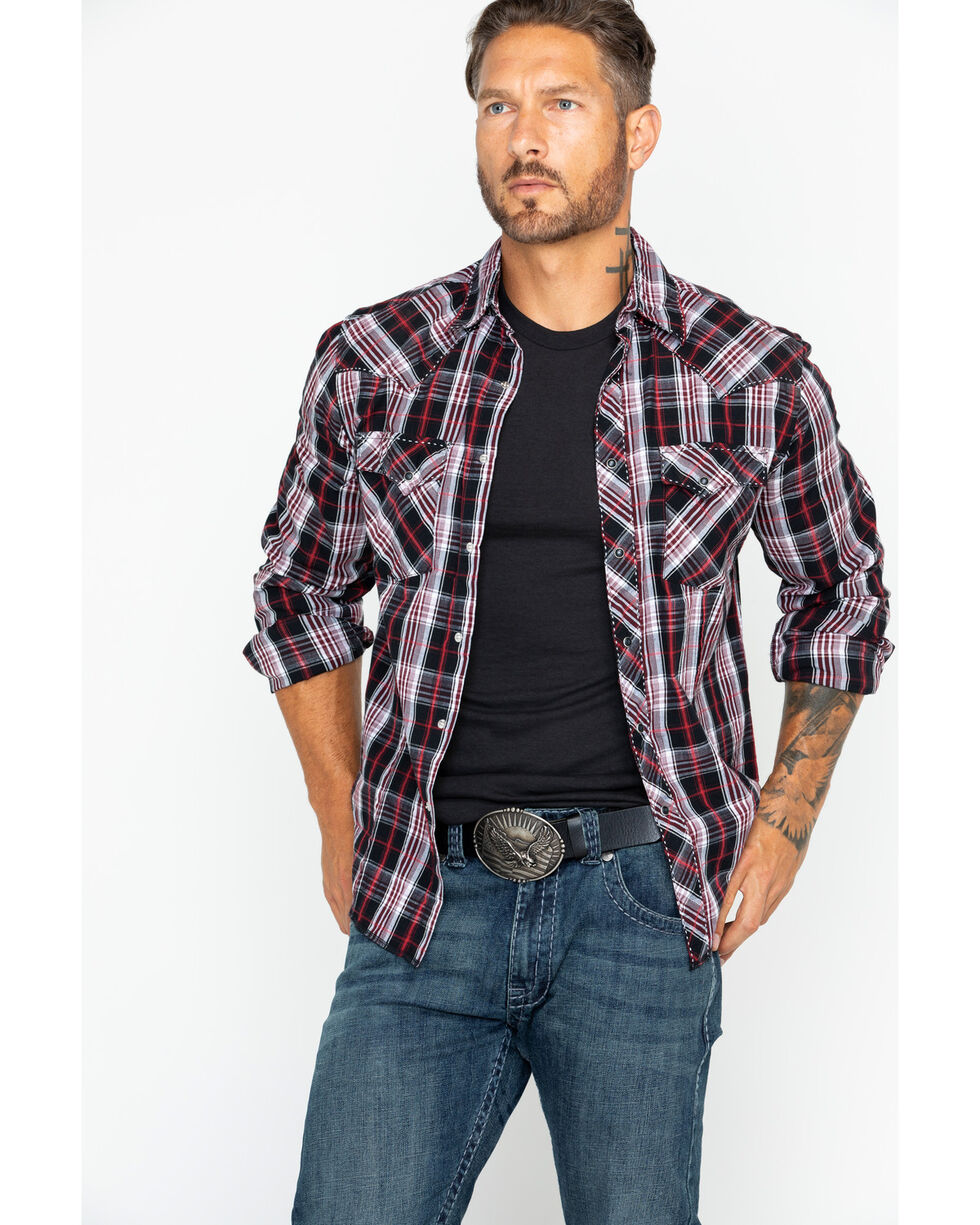 Wrangler Men's Black Long Sleeve Western Plaid Shirt , Black, hi-res