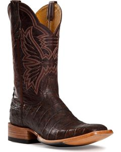 Cinch Antique Brown Caiman Cowgirl Boots - Square Toe, , hi-res