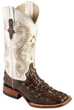 Ferrini Hornback Caiman Print Cowgirl Boots - Wide Square Toe, , hi-res