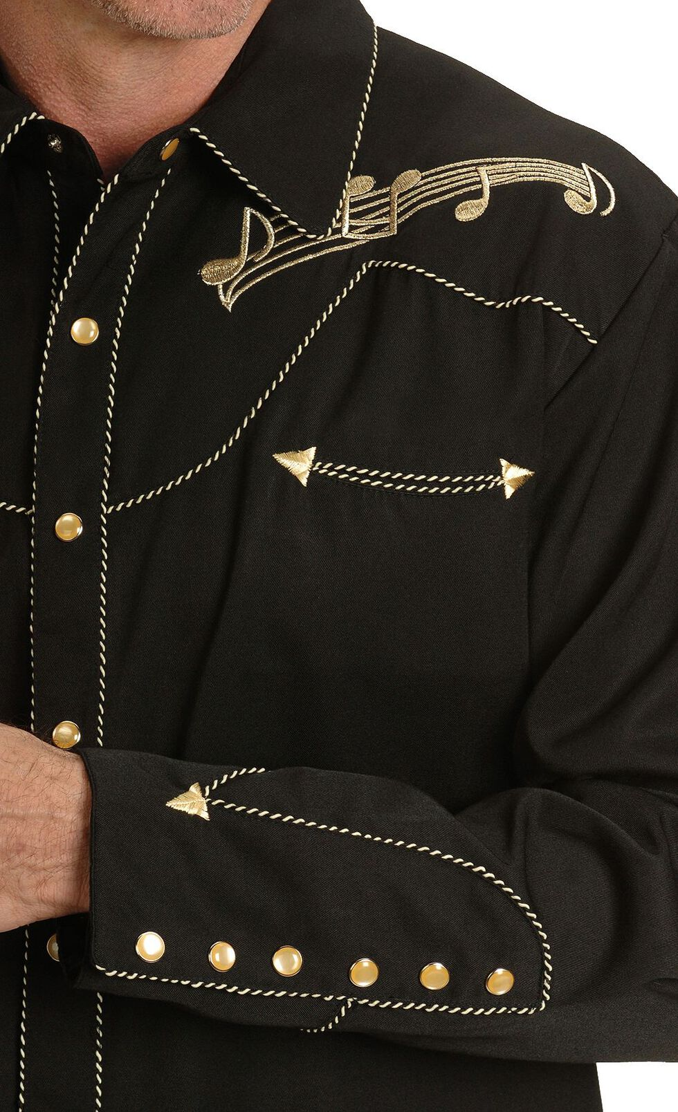 Scully Music Note Embroidered Retro Western Shirt, Black, hi-res