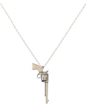 Silver Legends Women's White Opal Long Barrel Pistol Necklace , White, hi-res