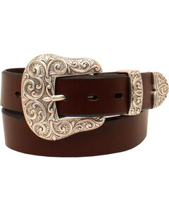 Ariat Women's Leather with Silver 3 Piece Buckle Set Belt, Brown, hi-res