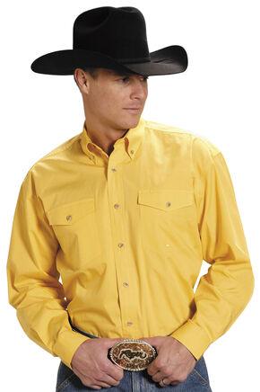 Roper Poplin Western Shirt - Big & Tall, Yellow, hi-res