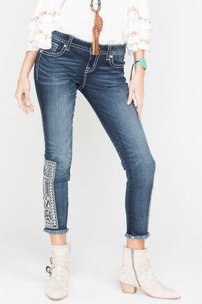 Miss Me Born to Be Boho Ankle Skinny Jeans, Blue, hi-res