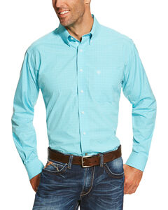 Ariat Men's Dominic Long Sleeve Shirt - Tall, Turquoise, hi-res