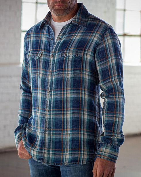 Ryan Michael Men's Indigo Double Plaid Shirt , Indigo, hi-res