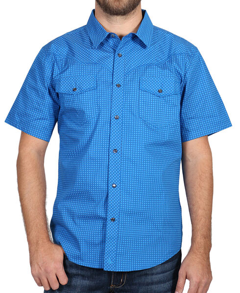 Cody James Men's Printed Western Short Sleeve Shirt, Blue, hi-res