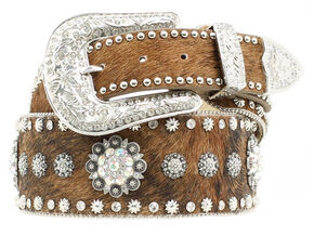 Nocona Hair-on-Hide Spur Rowel Concho Studded Belt, Med Brown, hi-res