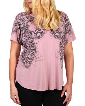 Vocal Women's Pink Rhinestone Fleur-de-lis Short Sleeve Top - Plus, Pink, hi-res