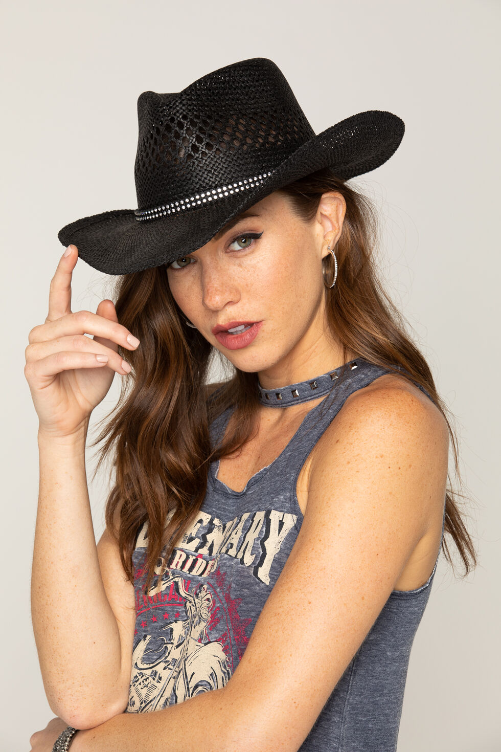 Shyanne Women's Black Bling Straw Cowgirl Hat, , hi-res