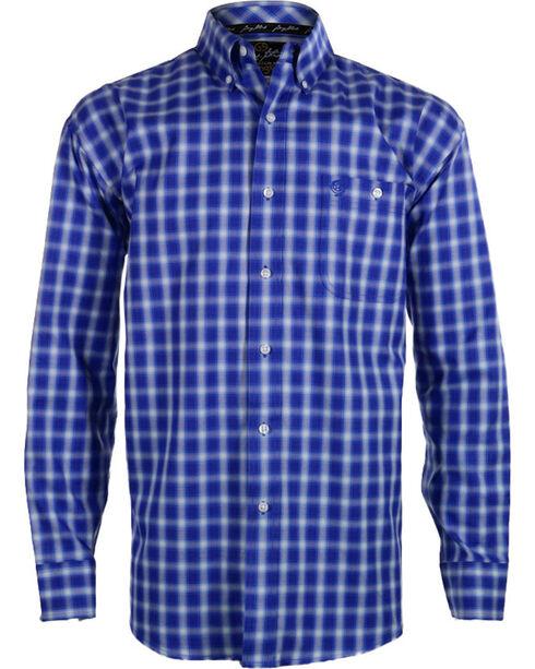 Wrangler George Strait Men's Plaid Button Down Long Sleeve Shirt , Blue, hi-res