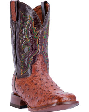 Dan Post Men's Quilled Ostrich Stockman Cowboy Boots - Square Toe, Cognac, hi-res