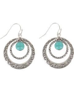Shyanne Women's Double Hoop Hook Earrings, Silver, hi-res