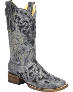 Corral Stingray Inlay Cowgirl Boots - Square Toe, Black, hi-res