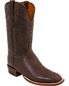 Lucchese Men's Lance Smooth Ostrich Horseman Boots - Square Toe, Dark Brown, hi-res