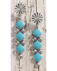 Shyanne Women's Starburst Turquoise Earrings, Silver, hi-res