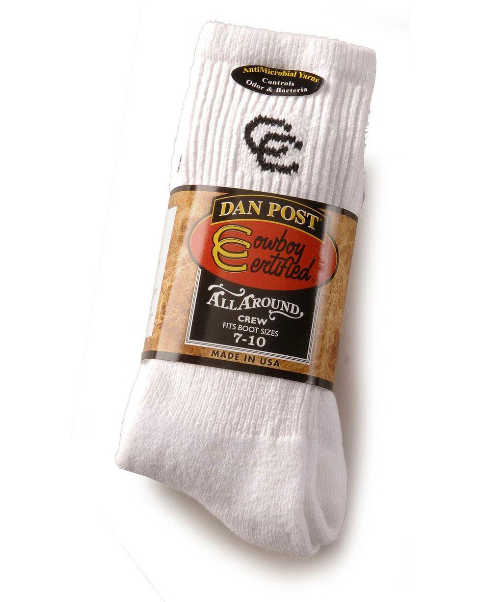 Dan Post Mens Cowboy Certified Crew Socks (2-Pack) - Sizes 10.5 - 13, White, hi-res