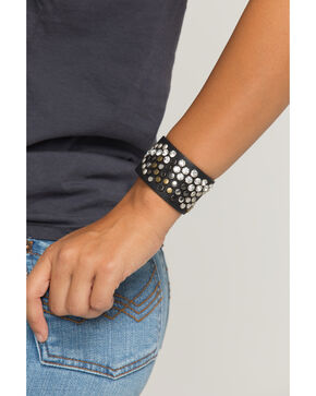 Shyanne Women's Black Multi-Colored Stud Cuff Bracelet, Black, hi-res